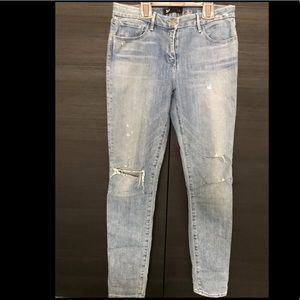 3x1 distressed cigarette jeans